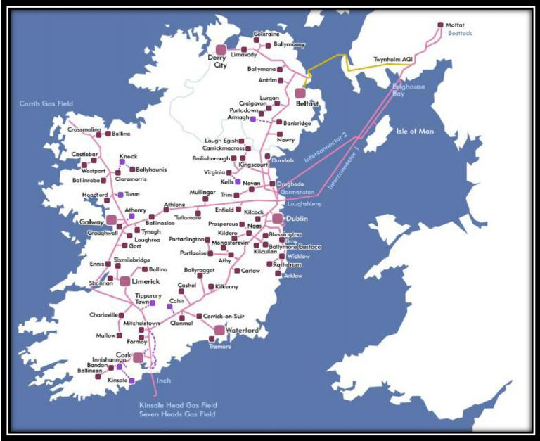 Kaart huidige gasleidingen Ierland